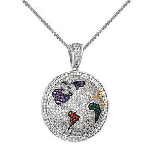 Round World Globe Pendant Iced Out Simulated Diamonds Free 24 Inch Box Necklace