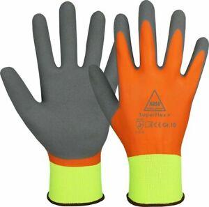 Superflex Thermo Winterhandschuhe Wasserdicht  neon-gelb - orange grau Gr.  10