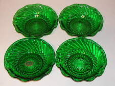 ANCHOR HOCKING FOREST GREEN DIAMOND & SWIRL SET 4 SCALLOPED BOWLS 6 5/8""