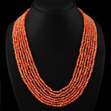 299.10 CTS NATURAL FACETED 7 LINE RICH ORANGE CARNELIAN BEADS NECKLACE - ON SALE