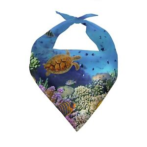 Ocean Animals Dog Cat Bibs Scarf Washable Turtle Pet Necklace Scarfs Towel Bibs