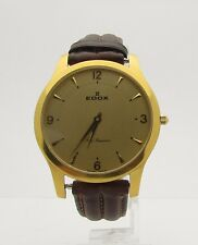 Edox Les Genevez Gold Plated Men's Leather Strap Wristwatch 38mm #21156