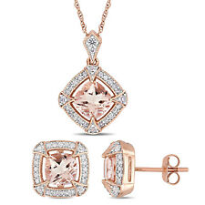 Amour 10k Rose Gold Morganite, Created White Sapphire & Diamond Halo Jewelry Set