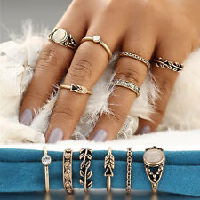 6PCS Carving  Leaf Tibetan Gold Woman Boho Style Knuckle Rings Jewelry Set Gifts