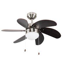 Modern Chrome Reversible 5 Blade Ceiling Fan With Integrated Light LED Bulb