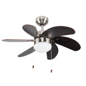 "Dark Wood 30"" Ceiling Fan Light Brushed Chrome Effect 6 Blades Reversible Motor"