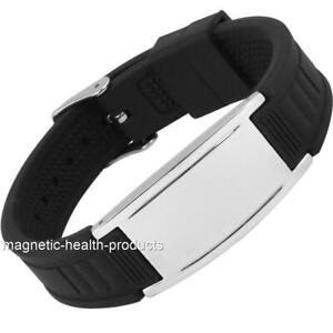 MENS MAGNETIC SILICONE HEALTH WRISTBAND SPORTS BRACELET ARTHRITIS PAIN RELIEF