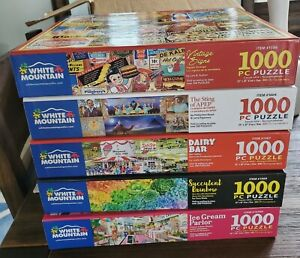 White Mountain puzzles 1,000 pieces-lot of 5 FREE SHIPPING