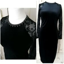 Monsoon Dress Size 14 Black Velvet & Lace Evening Party Cruise VGC