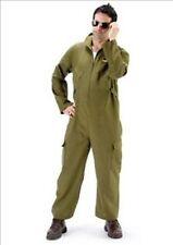Maverick Piloto De Vuelo Verde Oscuro Mono Disfraz Elaborado disfrazarse Talla M-L