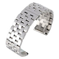 24/26mm Solid Stainless Steel Bracelet Silver Watch Band Wrist Strap Men Women