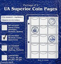 Pkg of 3 Superior 63 Pocket Coin Pages, Medium Coins (Nickels, Quarters) Money