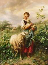 "Girl Sheep and Lamb  ""The Young Shepherdess"" - Johann Baptist Hofner"