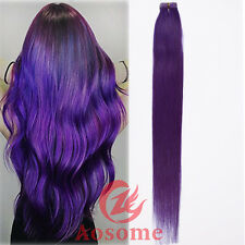 5-20pcs Tape in Remy Human Hair Extensions Virgin Ombre PU Skin Wefts Full Heads