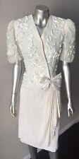 Retro Wrap Vintage 80s Lace Bow Embellished Beige Plunging V Formal Dress M