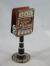UNUSUAL COPPER Matchbox Holder on Graduated Stem Ethnic Art Painted