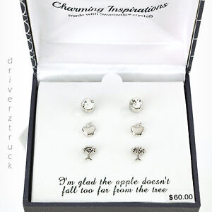 CHARMING INSPIRATIONS 3 Pair STUD EARRINGS Round CRYSTAL & SILVER APPLE & TREE