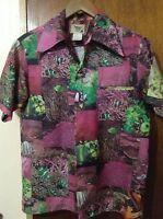 Pacific Isle Creations Vintage Men's Pink Aquatic Hawaiian Shirt Size Small