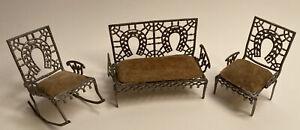Antique Peter F Pia Dollhouse Furniture, 3 Pieces