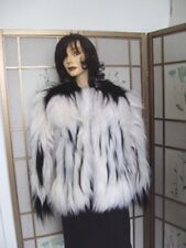 BRAND NEW CREATION WHITE AND BLACK FOX FUR JACKET COAT SIZE ALL