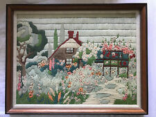 Vintage Longstitch Crewel Embroidery House Flower Garden Framed Picture Wall Dec