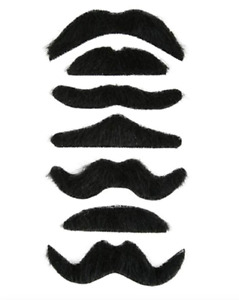7 Self Adhesive Fake Moustache Mustache Halloween Fancy Dress Party Costume