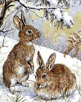 Two Brown Rabbits HP Design Needlepoint Canvas #381
