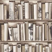 BOOKCASE BOOKS WALLPAPER - MURIVA E82208 - BEIGE ENCYCLOPEDIAS