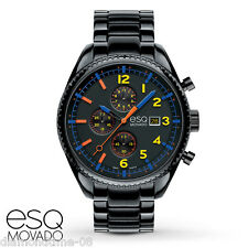 NEW ESQ by MOVADO CATALYST CHRONOGRAPH BLACK ION-PLATED SS MEN'S WATCH 07301452