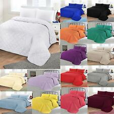 Luxury Soft Plain Dyed Poly Cotton Quilted Bedspread Bed Quilt Throw Double King