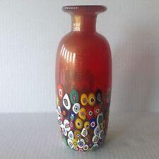 Italian Murano Glass Vase Gambaro & Poggi Red/Aventurine & Canes Signed/Sticker