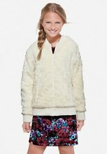 Justice Girl Polar Bomber Jacket Coat Ivory Off-White Faux Fur Lined Zip-Up 8/10