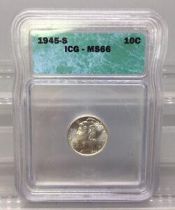 1945 S Mercury Dime - ICG - MS66