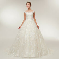 New Applique Lace Ball Wedding Dress White/Ivory Princess Train Bridal Gown Size