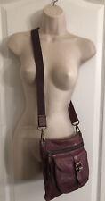 Fossil Brick Red Distressed Leather Crossbody Handbag Purse