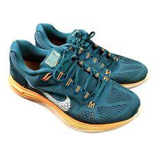 NIKE Lunarglide 5 Green Solar Orange Gym Running Trainers Shoes UK 10 EU 45