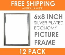 "12 x ECONOMY 6x8"" Silver Plated Thin Picture Frame Table Top Display Photo Frame"