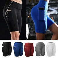 Women Compression Sport Shorts Leggings With Pocket Running Fitness Tight Pants