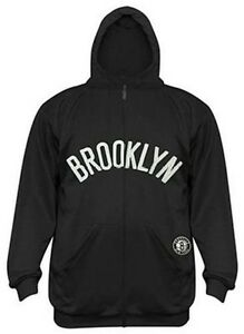 Brooklyn Nets NBA Majestic Boys Synthetic Full Zip Black Hoodie Youth Sizes