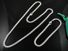 Cool 925Sterling Silver 4MM Round Grid Unisex Chain Necklace Bracelet Set FS058