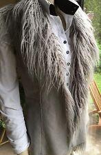MALVIN Light Grey SUEDE look WAISTCOAT GILET L 12/14 Faux Fur BNWT (£110 new)