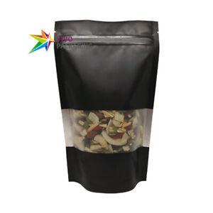Window Matt Black Stand Up Doy Pouch, Zip Lock Food Safe Mylar Foil Bag(100 pcs)