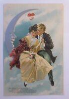 Valentine's Day, Men's, Women, Moon, Heart, Love, 1908, Embossed Postcard (42354