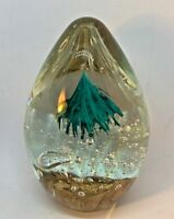 Beautiful! Large Turquoise Green & Clear w/Bronze Heavy Glass Egg Paperweight