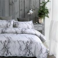 MARBLE GREY & PINK Reversible Duvet Cover Quilt Bedding Set Pillowcases All Size
