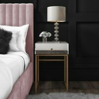 Lola Mirrored Single Drawer Bedside Table with Rose Gold Legs LOL001