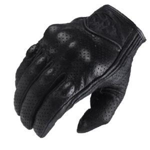 Motorcycle Leather Cruiser Cafe Racer Motorcycle Motorbike Gloves - Black
