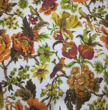 House 'n Home Fabrics Cotton Canvas Green Orange Flowers & Birds on Tan 1.75Y