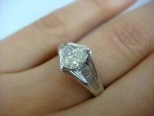 PLATINUM MARQUISE & BAGUETTE 1 CT T.W., DIAMOND ENGAGEMENT RING, 6.3 GRAMS