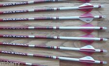 6-- Carbon Express Maxima RED 350 Custom Arrows w/ Blazer Vanes White Dip Crest